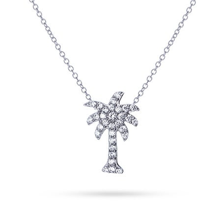 Petite Cubic Zirconia Palm Tree Necklace