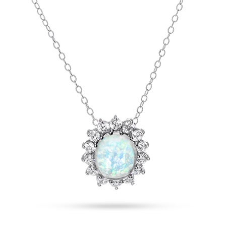 Oval Opal and CZ Necklace | Eve's Addiction