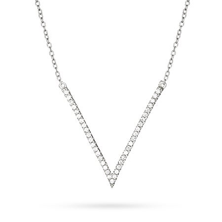 CZ V Necklace in Silver