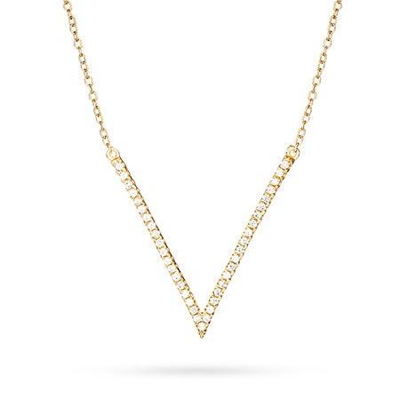 Gold Diamond CZ V Shaped Necklace