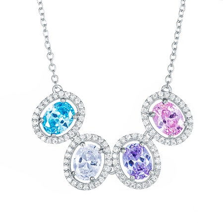 Custom 4 Oval Birthstone CZ Silver Necklace