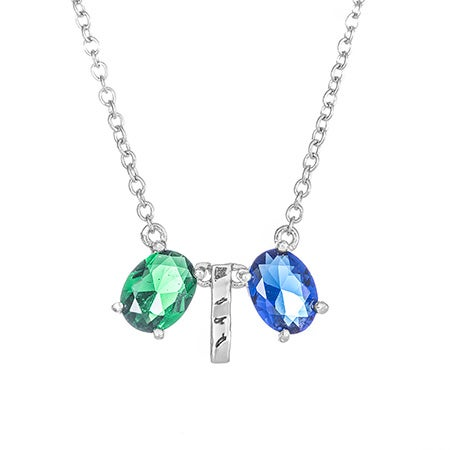 Custom Oval Two Birthstone Silver Bar Necklace