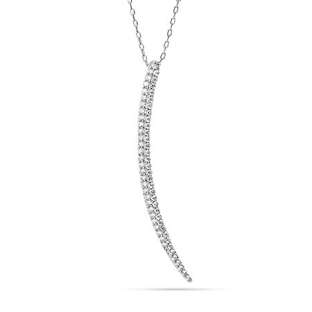 Sparkling CZ Horn Pendant in Sterling Silver