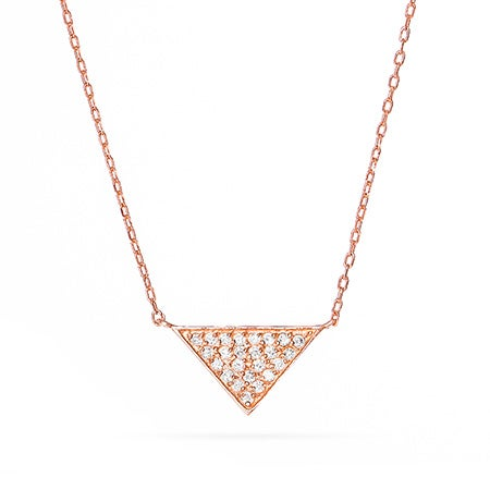 Rose Gold Vermeil Triangle CZ Pyramid Necklace
