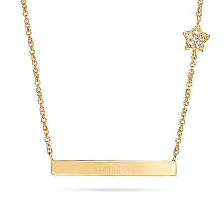 Engravable Gold Plated Name Bar with CZ Star