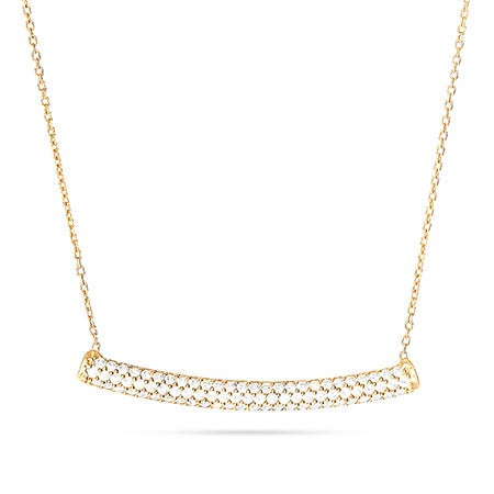 Gold Vermeil Bar Necklace with Pave CZs | Eve's Addiction®