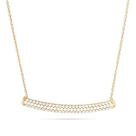 Gold Vermeil Bar Necklace with Pave CZs | Eve's Addiction®