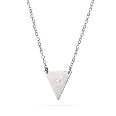 Sterling Silver CZ Pyramid Necklace | Eve's Addiction®
