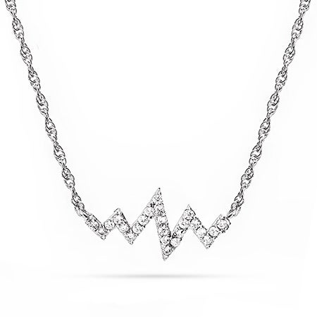 Sterling Silver CZ Heartbeat Necklace | Eve's Addiction