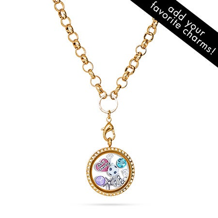 Gold CZ Floating Charm Locket on Round Link Chain
