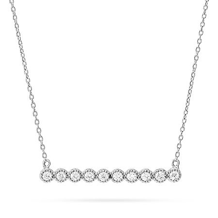 Sterling Silver Bezeled CZ Bar Necklace