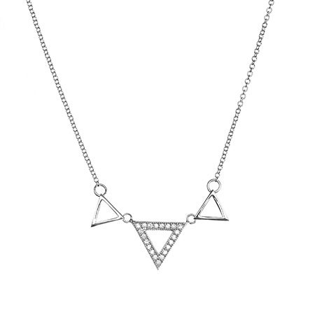 Triple Pyramid CZ Sterling Silver Necklace