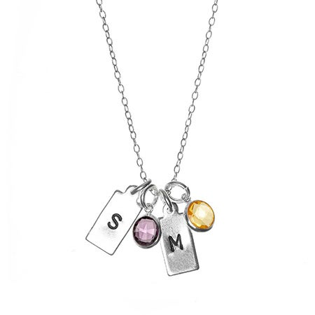 Hand Stamped Silver Rectangle Mini Initial Birthstone Necklace