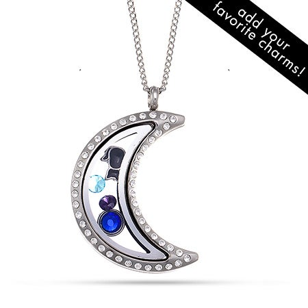CZ Moon Floating Charm Locket | Eve's Addiction