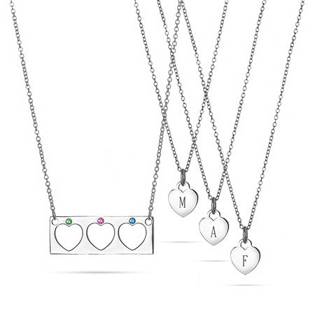 Mother Daughter 3 Child Birthstone Heart Bar Pendant Set
