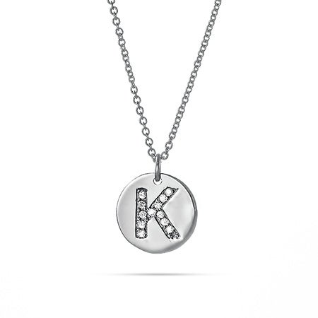 Diamond Initial Silver Disc Necklace
