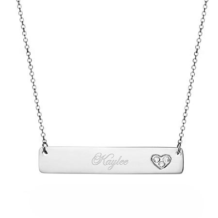 14K White Gold Bar Nameplate Necklace with Diamond Heart