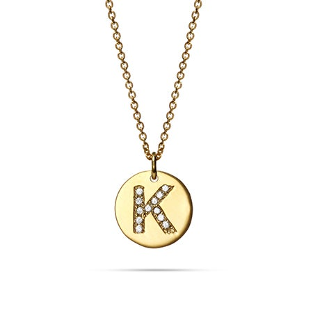 Diamond Initial Gold Plated Disc Necklace