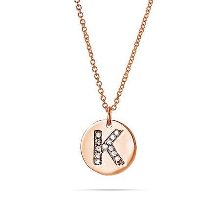 Diamond Initial Rose Gold Vermeil Disc Necklace
