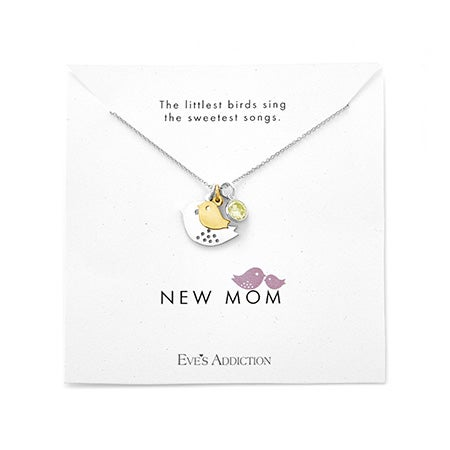 Custom New Mom and Baby Bird Birthstone Silver Necklace