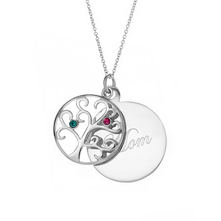 Engravable 2 Birthstone Family Tree Necklace