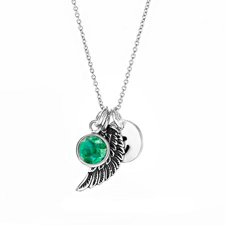 Angel Wing Initial Birthstone Charm Necklace
