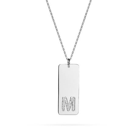 Diamond Initial Tag Pendant in Sterling Silver