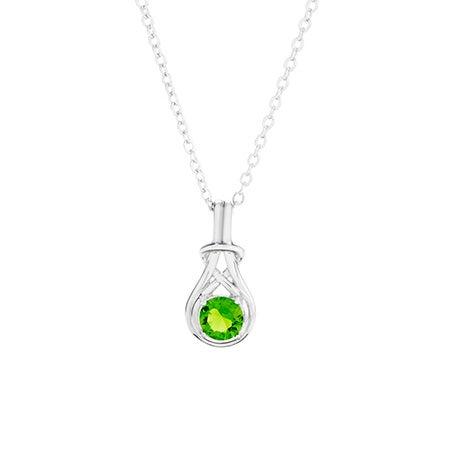 Custom Love Knot Birthstone Necklace