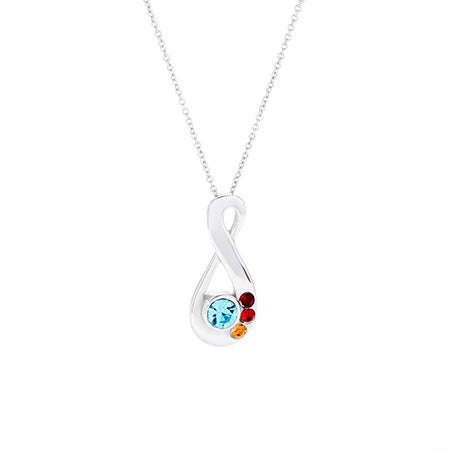 4 Stone Silver Infinity Mother's Birthstone Necklace
