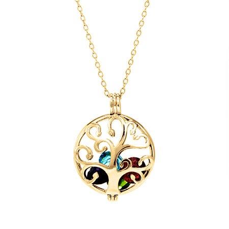 Custom Family Tree Birthstone Gold Locket