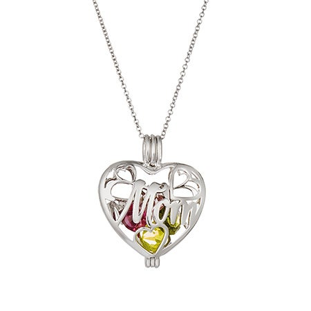 Mom Custom Caged Birthstone Heart Locket