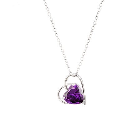 Custom Birthstone Open Heart Pendant