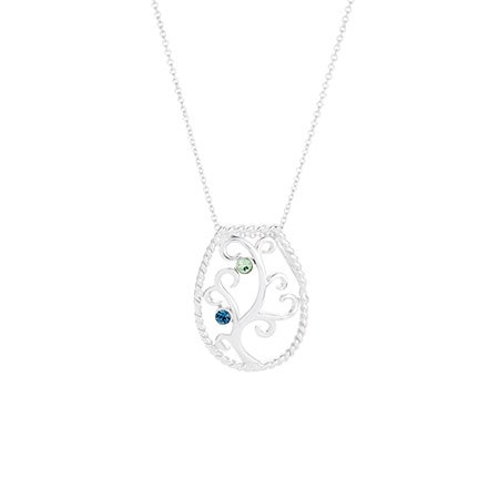 Custom 2 Birthstone Family Tree Necklace
