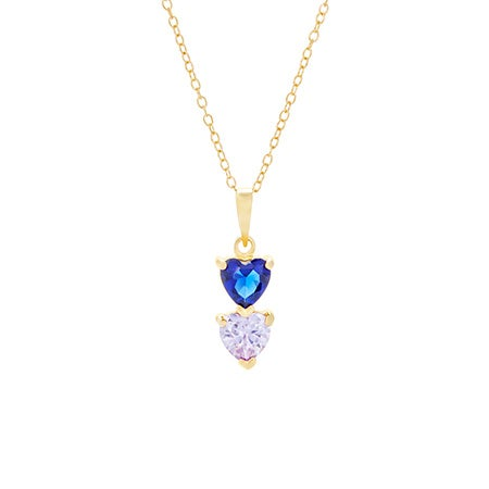 2 Birthstone Gold Heart Drop Mother's Necklace