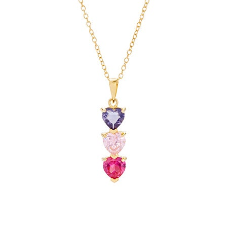 Custom 3 Birthstone Heart Drop Gold Necklace