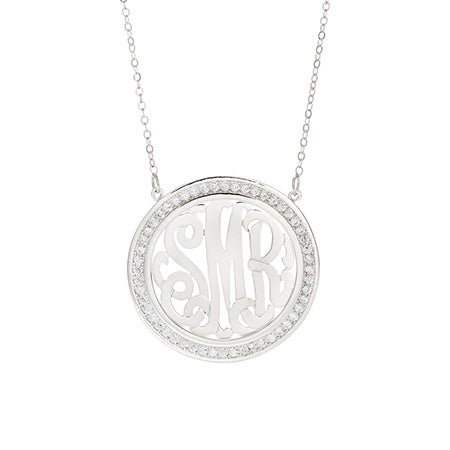 CZ Border Silver Monogram Necklace