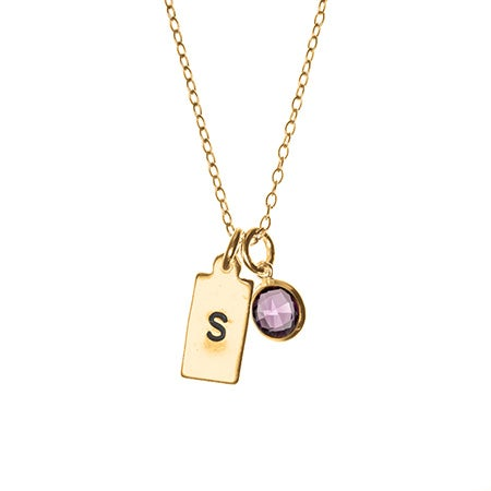 Hand Stamped Gold Rectangle Initial Birthstone Necklace