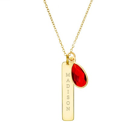 Vertical Gold Bar Necklace with Custom Birthstone