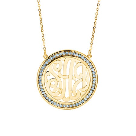Custom Birthstone Gold Monogram Necklace