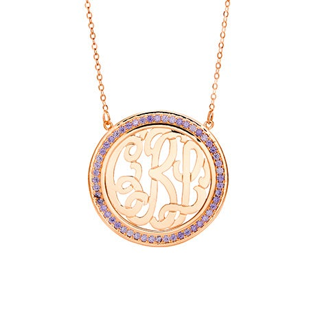 Birthstone Monogram Rose Gold Necklace