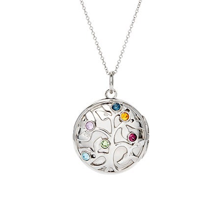 6 Birthstone Family Tree Silver Photo Locket