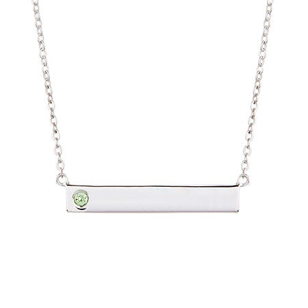 Custom Birthstone Silver Name Bar Necklace