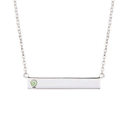 Custom Birthstone Silver Name Bar Necklace
