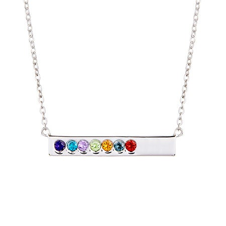 7 Stone Birthstone Silver Name Bar Necklace