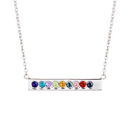 9 Stone Birthstone Silver Name Bar Necklace