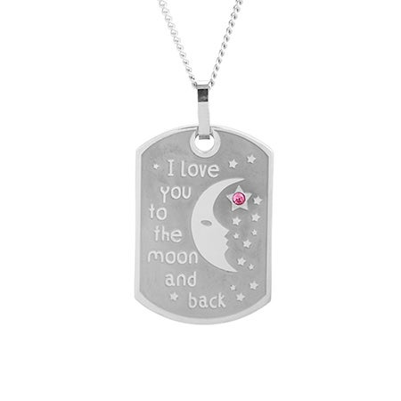 I Love You To The Moon and Back Birthstone Large Dog Tag