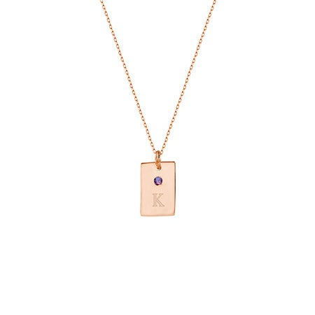 Birthstone and Initial Petite Rose Gold Tag Necklace