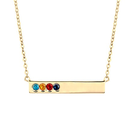 4 Birthstone Gold Name Bar Necklace