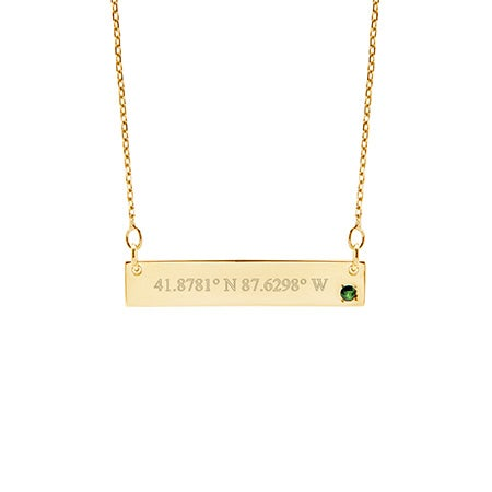 Custom Coordinate Genuine Birthstone Gold Bar Necklace