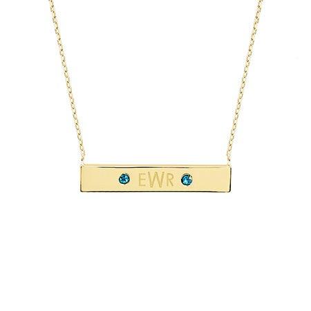 Monogram Birthstone Gold Name Bar Necklace